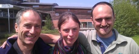 3/4 of R2L2: Richard Hesketh, Liz Mackley and Richard Smith at Slimbridge