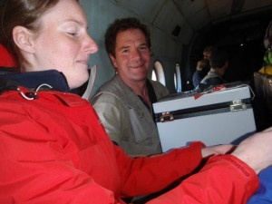 Liz hands over to Nigel before the flight