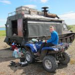 WWT aviculturist Nicky Hiscock with the quad bike and Russian-built transporter - the Vezdia Hode (trans: goes anywhere!) (c) Nicky Hiscock
