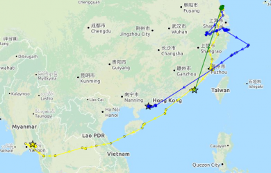 CT on his way south, 13 November at 10.27 UTC. (Map data ©OpenStreetMap)