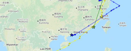 CT on his way south, 13 November at 10.27 UTC. (Map data ©OpenStreetMap)