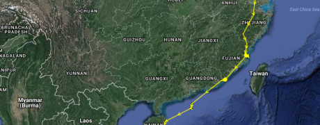 ET on the move from the Jiangsu coast to the island of Hainan! As of 16:30 on 4 Nov 2016. Map data: ©2015 Google and Microwave Telemetry Inc.