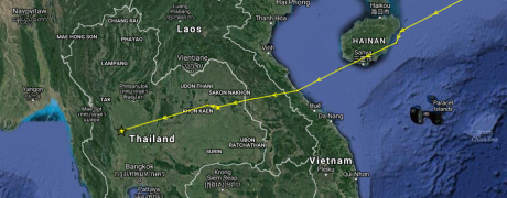 ET's journey continues from the the island of Hainan to western Thailand! As of 14:09 (UTC) on 5 Nov 2016. (Map data ©2016 Google, SK telecom Imagery ©2016 TerraMetrics)