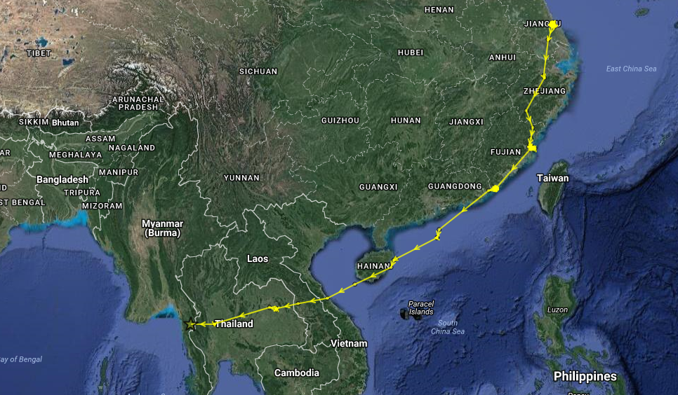 ET's makes it to Myanmar! As of 15:05 (UTC) on 5 Nov 2016. (Map data ©2016 Google, SK telecom Imagery ©2016 TerraMetrics)