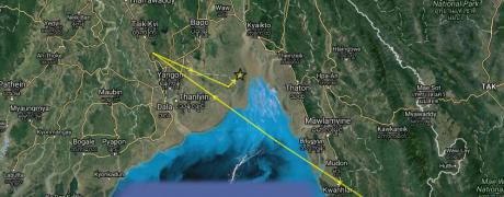 ET at the Gulf of Mottama, 5-7 November 2016. (Map data ©2016 Google, SK telecom Imagery ©2016 TerraMetrics)