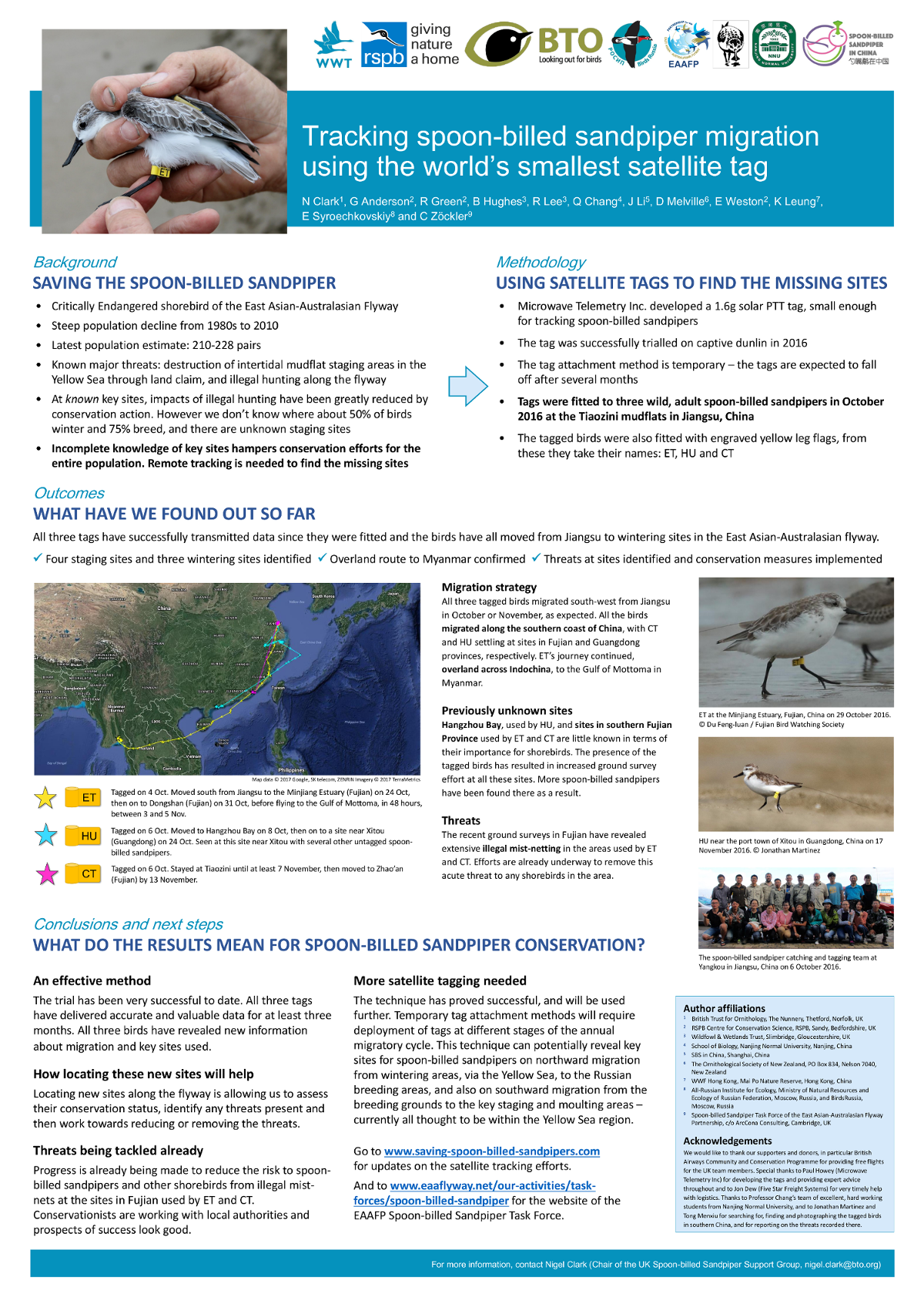 Spoon-billed Sandpiper satellite tracking poster presented at the Arctic Migratory Birds Initiative (AMBI) East Asian-Australasian Flyway workshop in Singapore (8-10 Jan 2017).