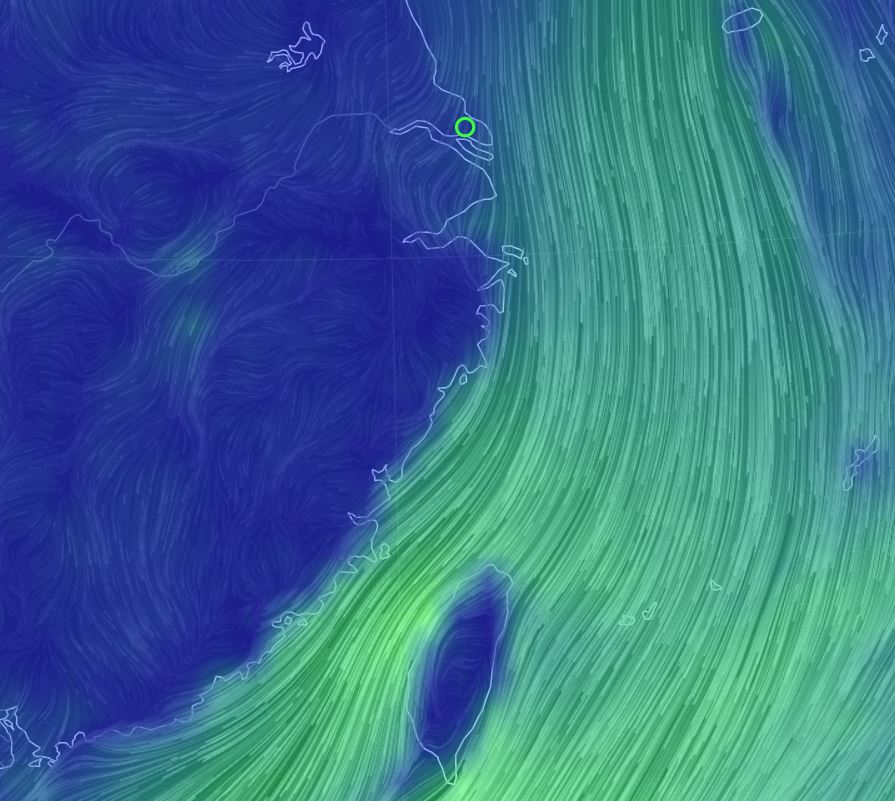 Ideal tail wind conditions for migration on 8 November 2019 @EarthWindMap earth.nullschool.net.