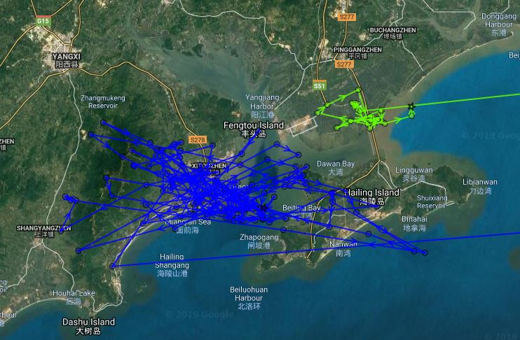Satellite fixes of KY (green line) and HU (blue line) at Xitou, Guangdong Province
